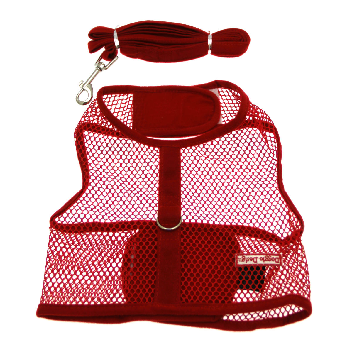 Netted Dog Harness with Leash - Red
