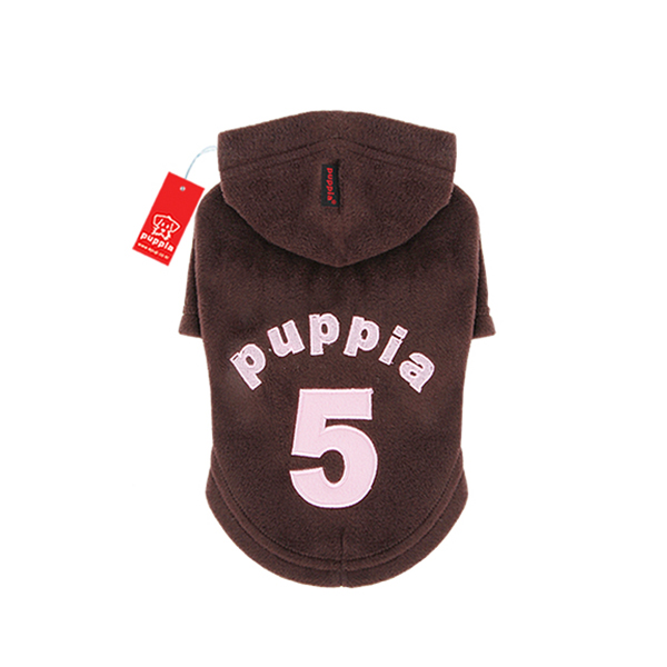 Number 5 Dog Hoodie by Puppia - Brown