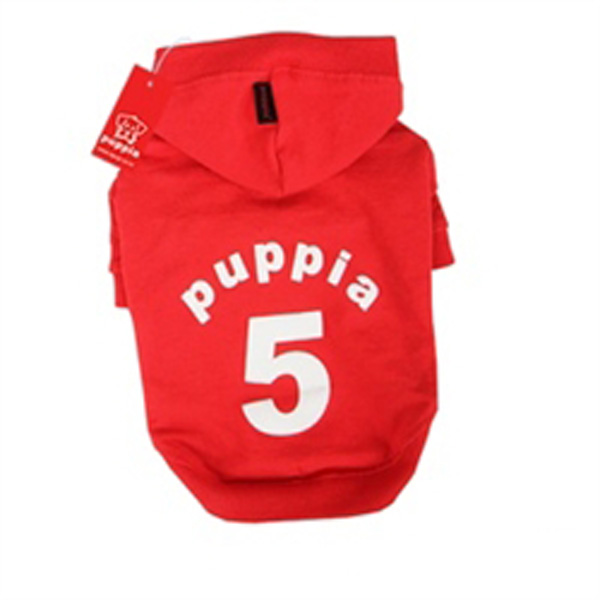 Number 5 Dog Hoodie by Puppia - Red