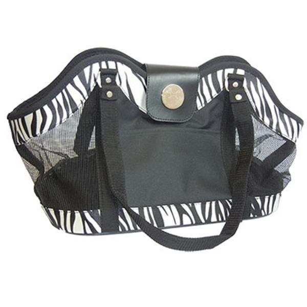 NY Dog Zebra Print Open Pet Tote - Black