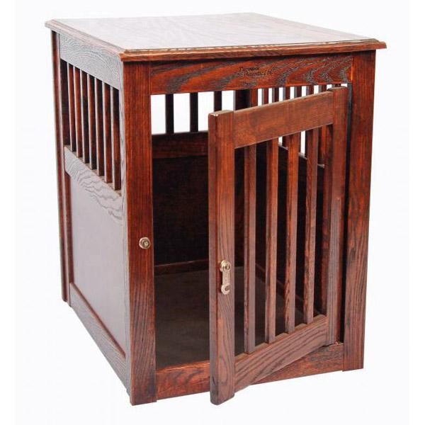 Oak End Table Dog Crate - Mahogany