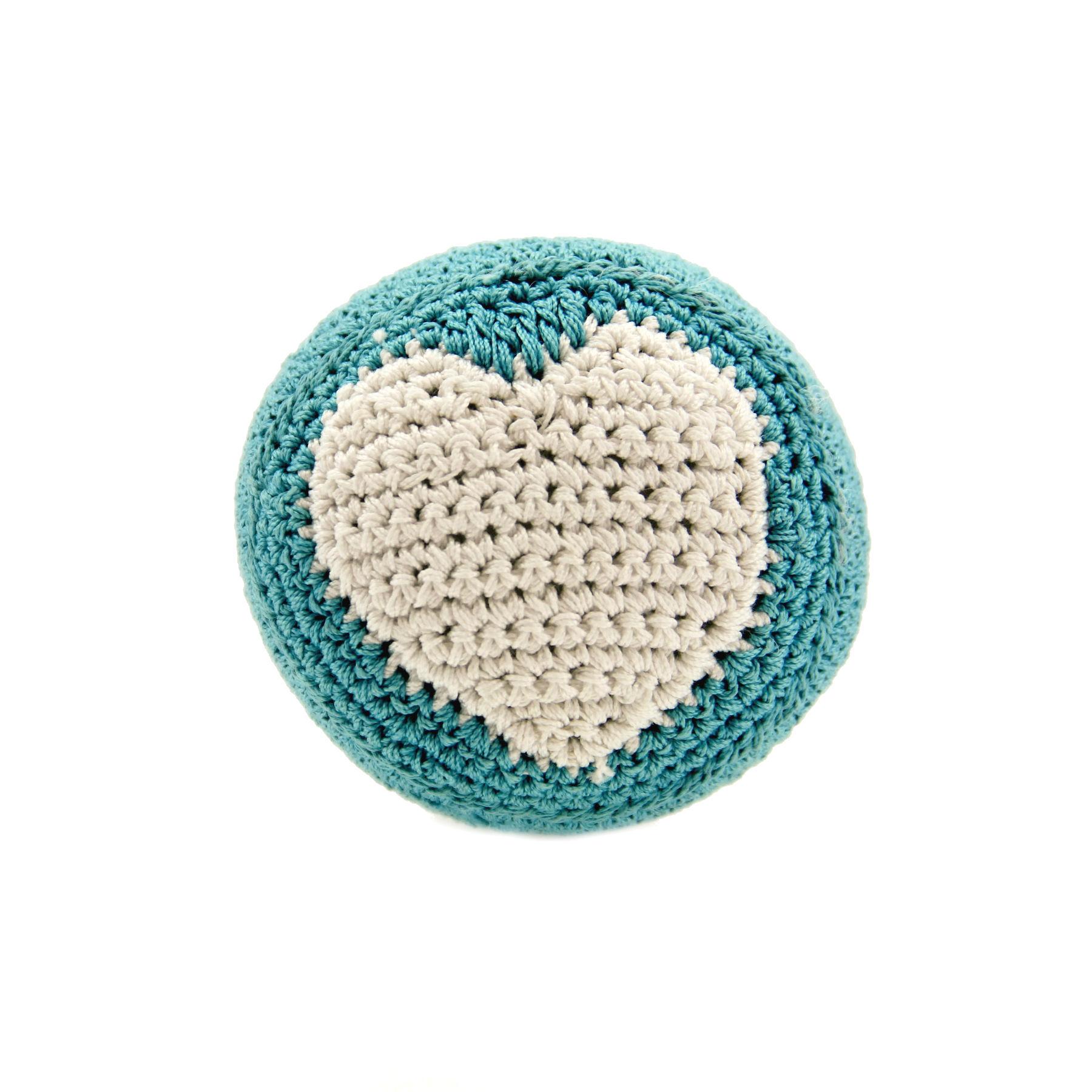 Organic Cotton Crochet Dog Toy by Hip Doggie - Blue Heart Ball