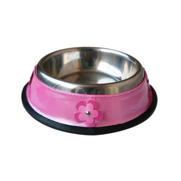 Patent Leather & Stainless Steel Dog Bowl - Pink Flowers