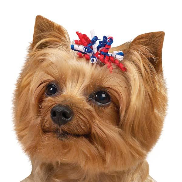 Patriotic Curls Dog Bow