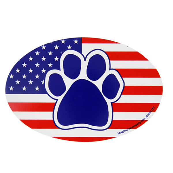 Patriotic Paw Oval Magnet