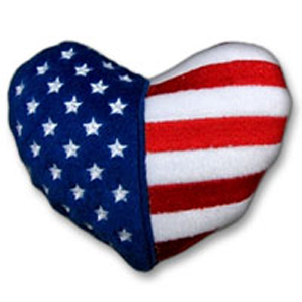 Patriotic Plush Dog Toy - Heart