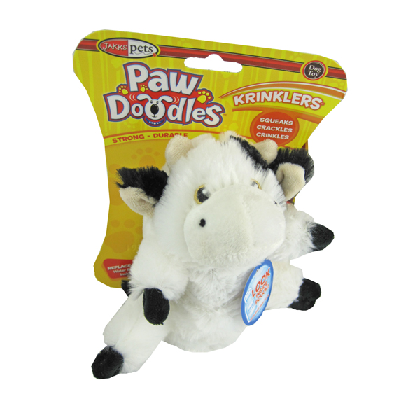 Pawdoodles Krinklers Dog Toy - Cow