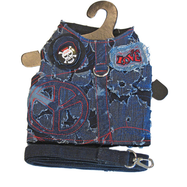 Peace & Love Denim Harness Vest w/ Leash