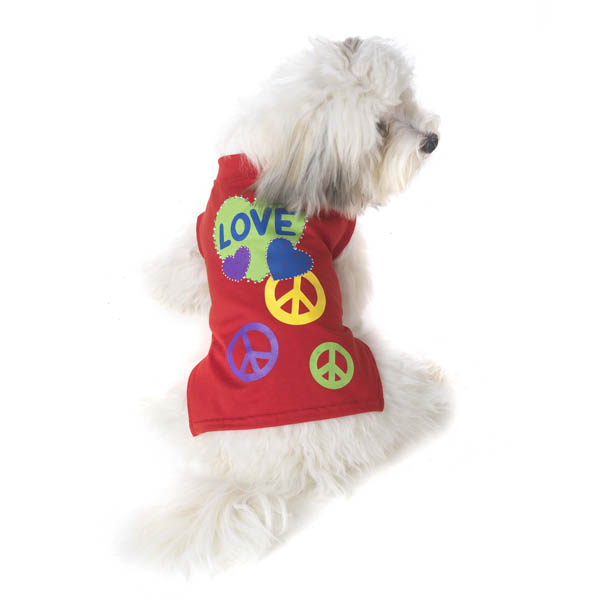 Peace & Love Dog T-Shirt - Red