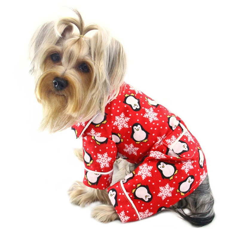 Penguins and Snowflakes Flannel Dog Pajamas by Klippo - Red