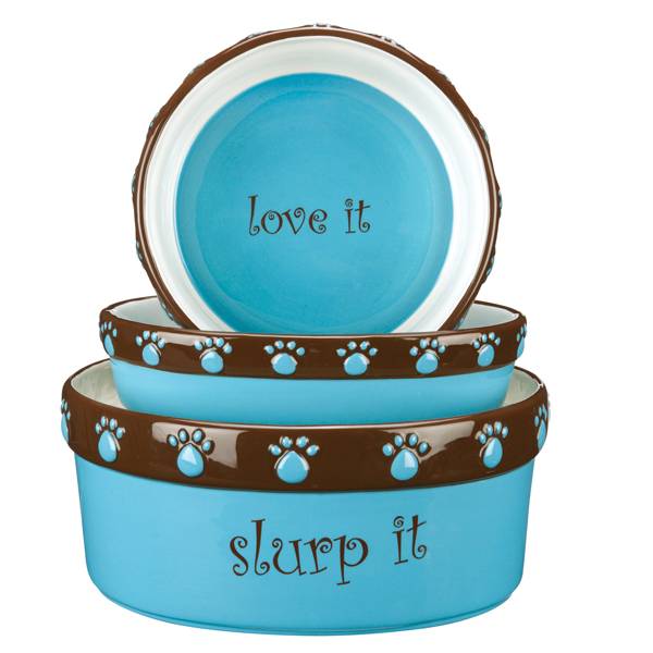 Pet Studio Cutie Paw Pet Dishes - Blue