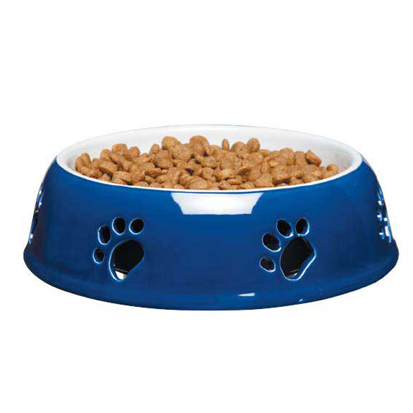 Pet Studio Pawprint Dog Dish - Navy