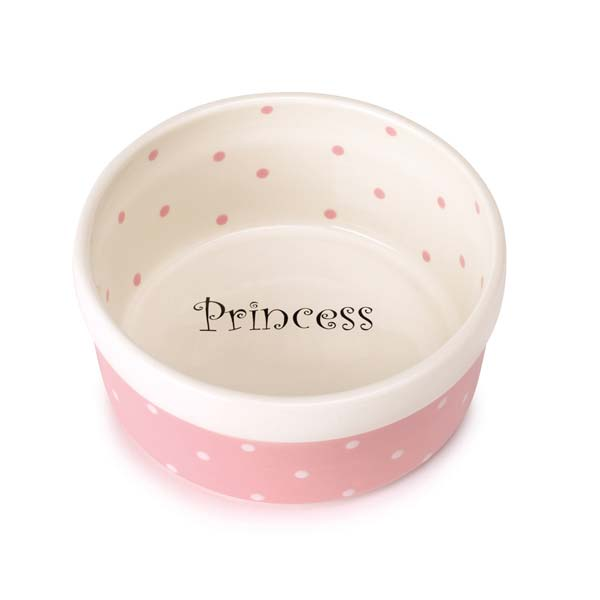 Pet Studio Polka Dot Pink Princess Dog Dish