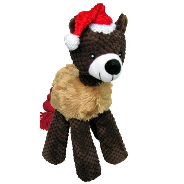 PetLou Christmas Bear Long Legged Dog Toy