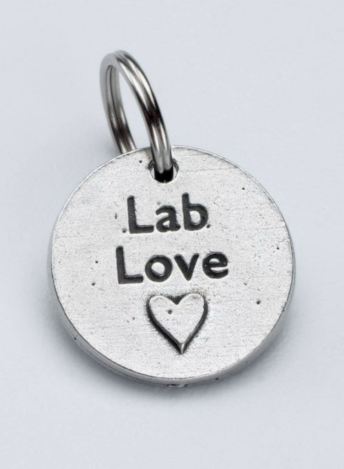 Pewter Dog Collar Charm: Lab Love