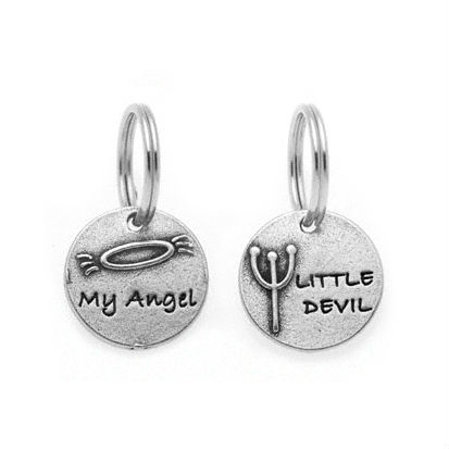 Pewter Dog Collar Charm or Cat Collar Charm: Angel or Devil?