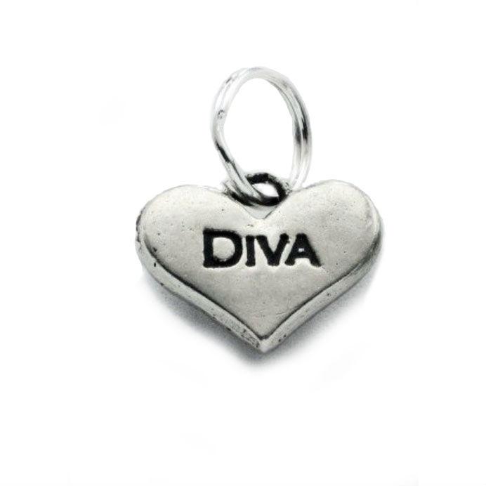 Pewter Dog Collar Charm or Cat Collar Charm: Diva Heart