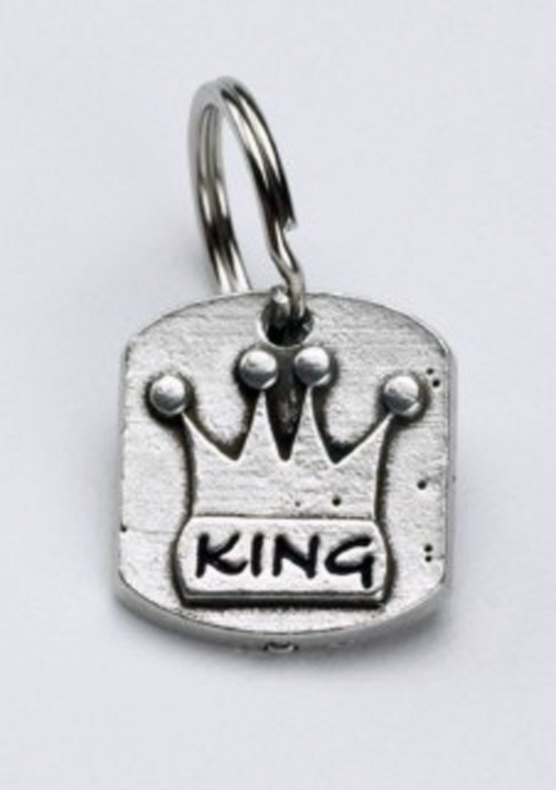 Pewter Dog Collar Charm or Cat Collar Charm: King