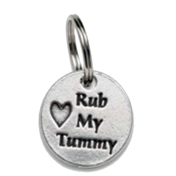 Pewter Dog Collar Charm or Cat Collar Charm: Rub My Tummy