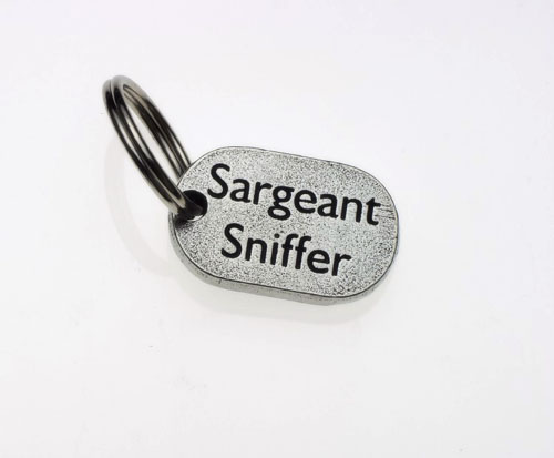 Pewter Dog Collar Charm or Cat Collar Charm: Sargeant Sniffer