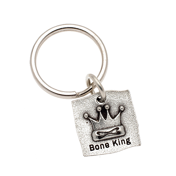 Pewter Pet Lover Keychain - Bone King