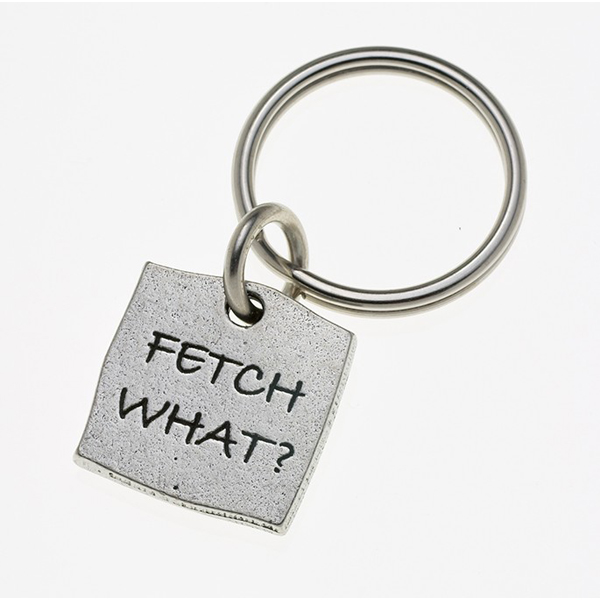 Pewter Pet Lover Keychain - Fetch What?