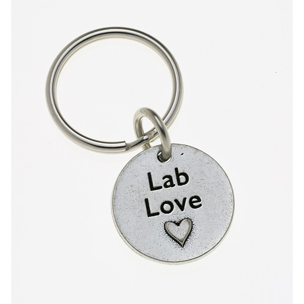 Pewter Pet Lover Keychain - Lab Love