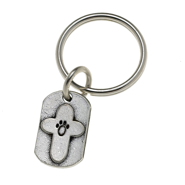 Pewter Pet Lover Keychain - Paw Cross