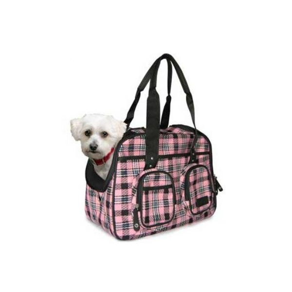Pink Plaid Deluxe Pet Tote