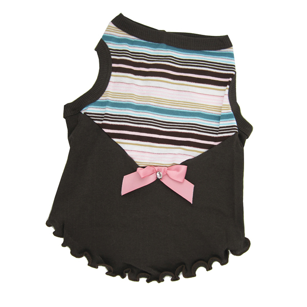 Pink Stripe Bow Dog Tank by Hip Doggie