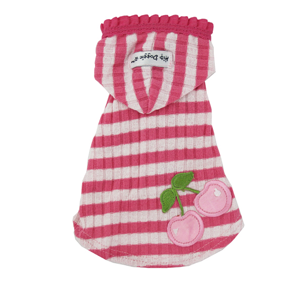 Pink Stripe Cherry Hooded Shirt by Hip Doggie