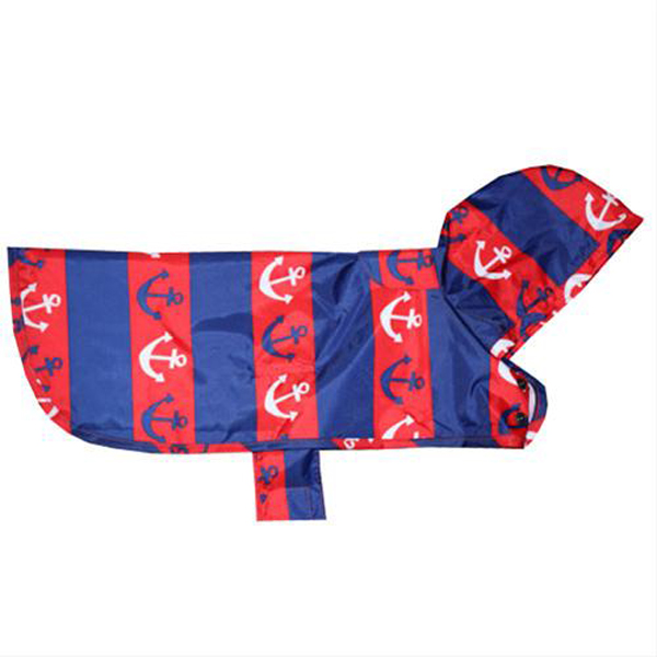 Pitter Patter Packable Dog Rain Poncho - Nautical