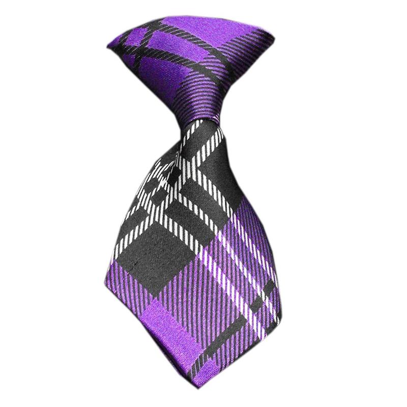 Plaid Dog Neck Tie - Purple