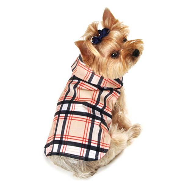 Plaid Dog Raincoat - Tan
