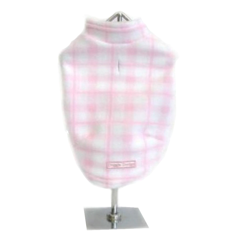 Plaid Fleece Dog Vest - Light Pink