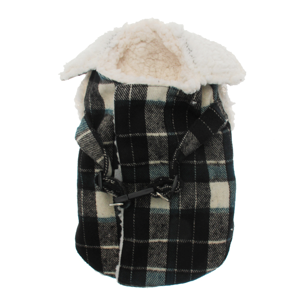 Plaid Fleece Lined Dog Wrap Coat - Green