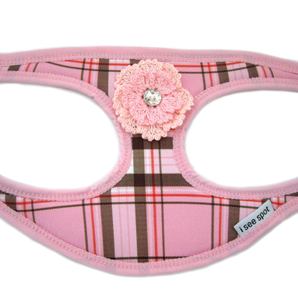 Plaid Step-In Dog Harness - Pink