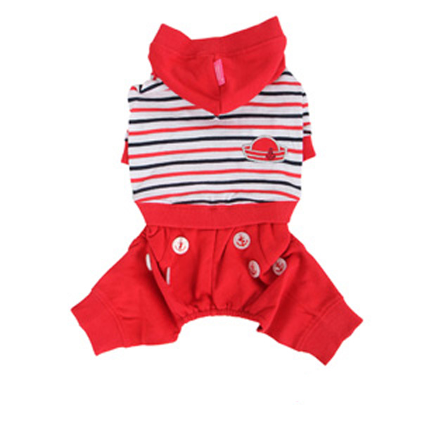 Playschool Hooded Dog Jumpsuit by Pinkaholic - Red