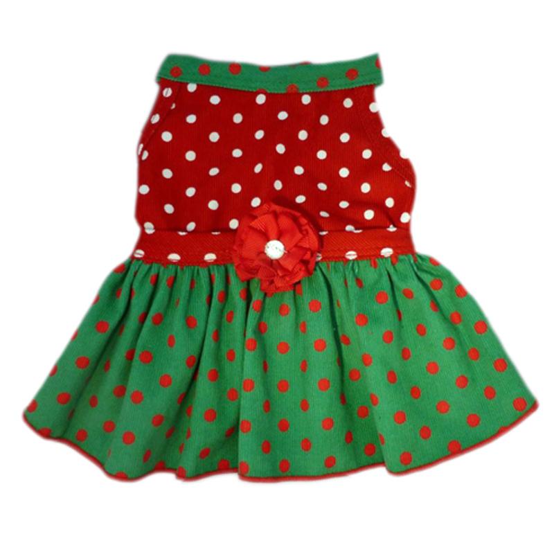 Polka Dot Corduroy Dog Dress