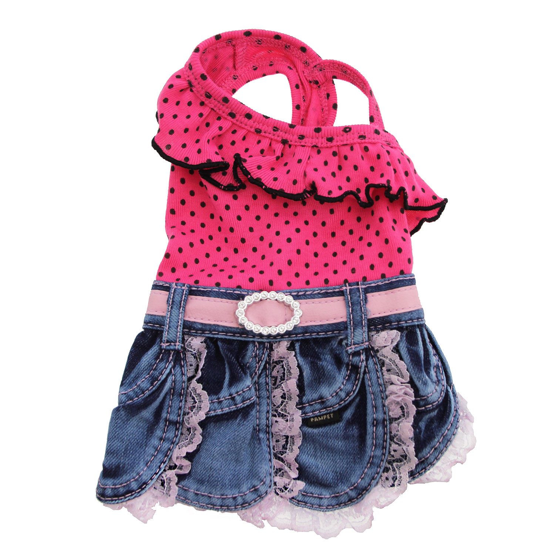Polka Dot Denim Skirt Dog Outfit