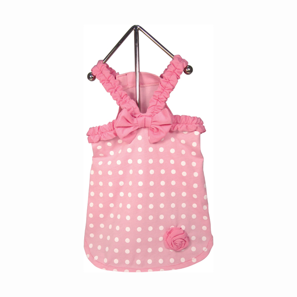 Polka Dot Dog Dress - Baby Pink
