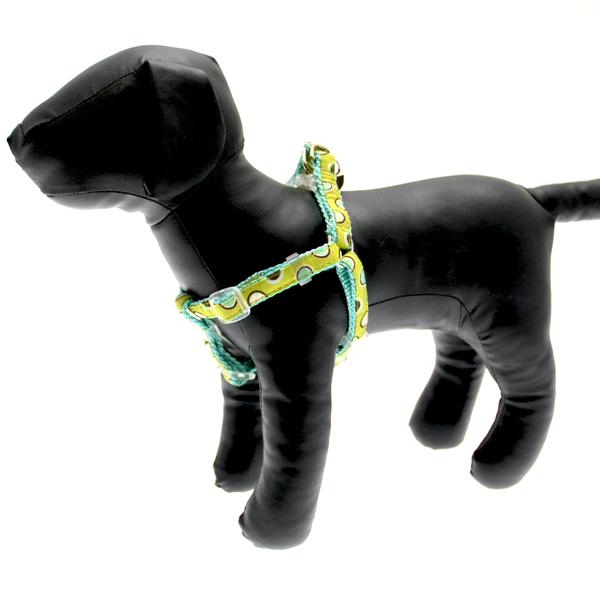 Polkastripe Dot Ribbon Dog Harness - Aqua Brown