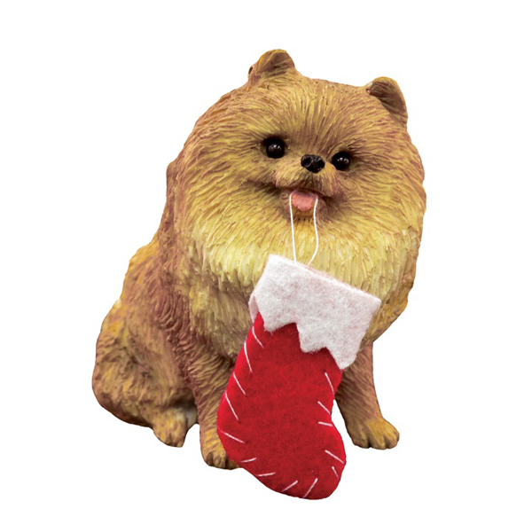 Pomeranian with Stocking Christmas Ornament