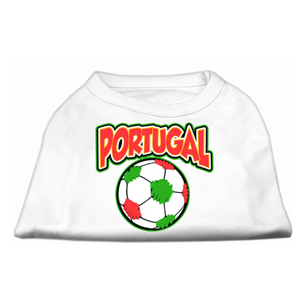 Portugal Soccer Print Dog Shirt - White