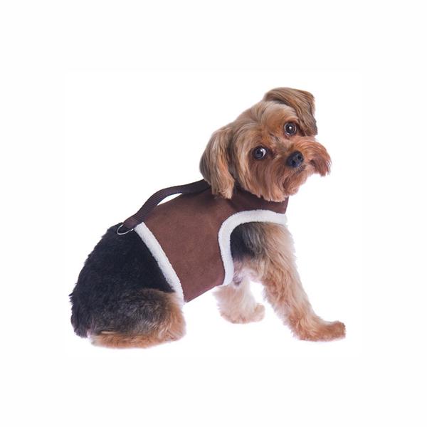 Power Reversible Dog Harness - Brown & Berber Fleece