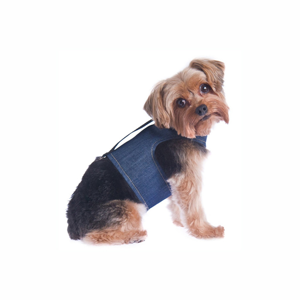 Power Reversible Dog Harness - Denim & Suede