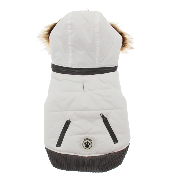 Quilted Dog Sweater Coat - White
