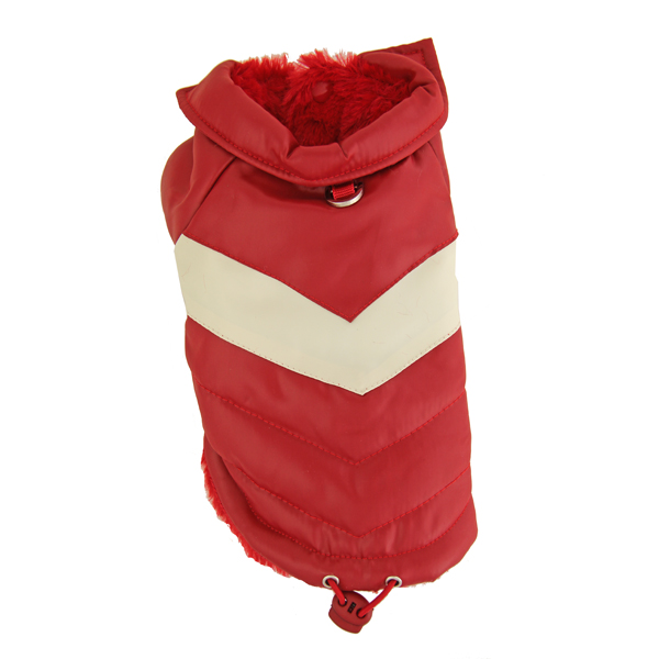 Red Puffy V Dog Coat by Hip Doggie