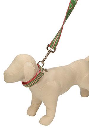 Ribbon Pink & Green Stripe Dog Collar - Spring Fling