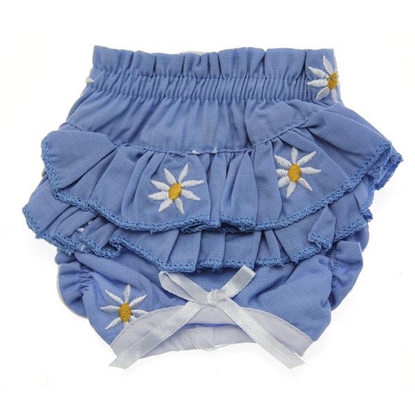 Ruffled Denim and Daisy Dog Panties - Soft Blue